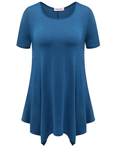 (BELAROI Womens Basic Solid Loose Fit Short Sleeve Tunic T Shirt (S, Steel Blue))