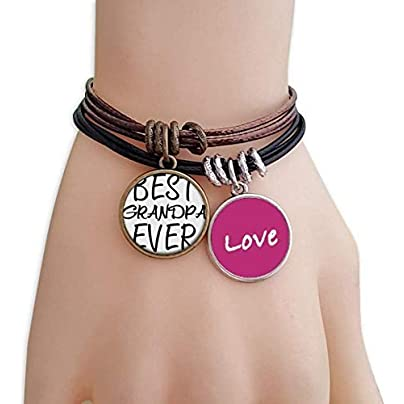 FerryLife Best Grandpa Ever Quote Love Bracelet Leather Rope Wristband Couple Set Estimated Price £9.99 -