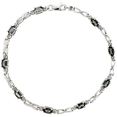 - Silver City Jewelry 10k White Gold XOXO Hugs & Kisses Tennis Bracelet 0.05 ct Diamonds & 2.25 ct Oval Mystic Topaz, 1/8 inch Wide