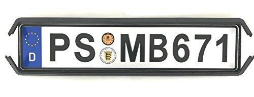 Bracket European Plate (Gosweet Standard Germany Blue European License Plate Holder Universal Mounting Frame Bracket Tag Euro Fully Cover For Audi BMW VW Mercedes Porsche (Plate+Holder))