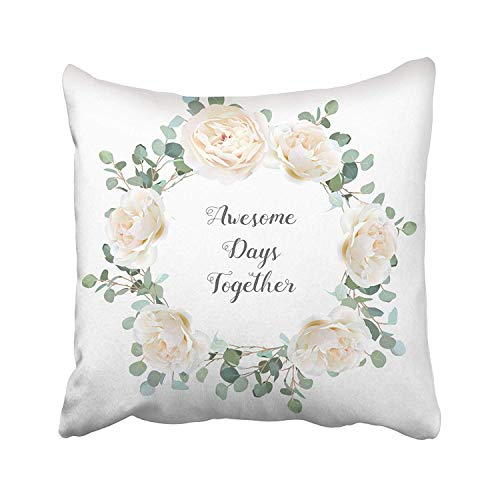 - GETTOGET Creamy White Roses and Silver Dollar Eucalyptus Branches Round Cute Rustic Wedding Greenery Mint Blue Pillow Cases Personalized Throw Pillow Cover for Sofa Home Room Bed 20x20 in