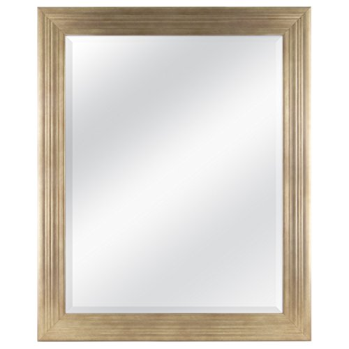 MCS 22x28 Inch Ridged Mirror, 27x33 Inch Overall Size, Brushed Gold (20584)