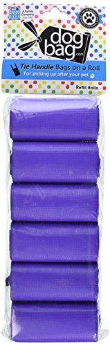 Doggie Walk Bags Tie Handle Bags on a Roll Purple (6 Rolls/72 Bags) (Doggy Scoop Bags)