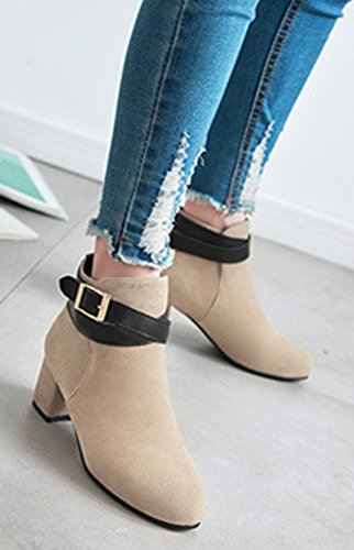 Beige Pointy Shoes Buckle Ankle Toe Chic Aisun Women's Boots Top gBqCnzX