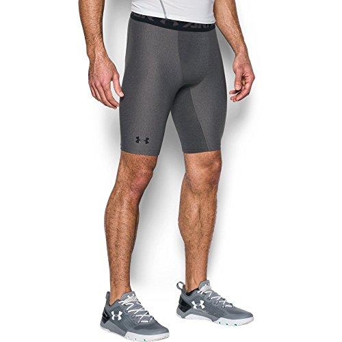 Under Armour Men's HeatGear Armour 2.0 Long Shorts, Carbon Heather (090)/Black, Large