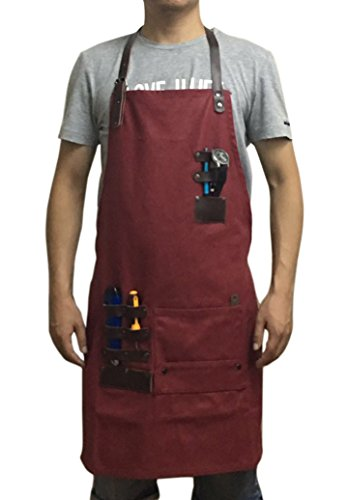 FENFEN Workshop Apron with Pockets Heavy Duty Waxed Canvas Utility Tool Aprons Adjustable Size for Men & Women (Red) by FENFEN