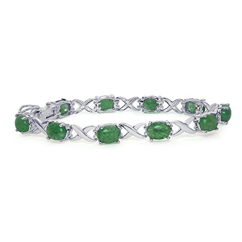 Sterling Silver Oval Green Jade gemstones Love Friendship Link Infinity Bracelet, 7
