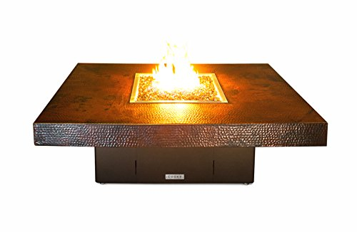 COOKE Hammered Copper Santa Barbara Rectangular Fire Pit Table – 48 x 36 x 18 – Propane – Black