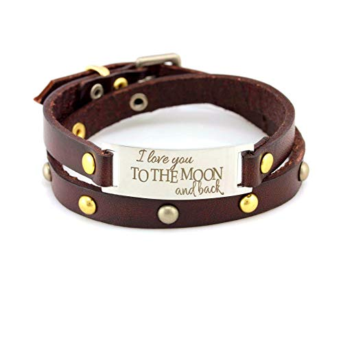 Inspirational Leather Message Bracelet for Women, I Love You to The Moon and Back