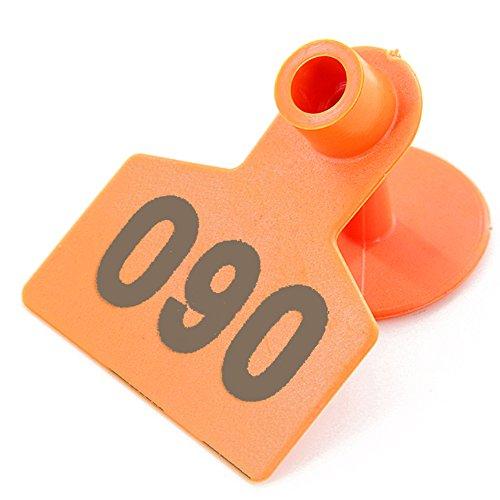 No 0001-1000 Pig Ear Tag Laser Typing Copper Head Farm Animal Identification Card Custom Ear Tag (Orange) by General (Image #2)