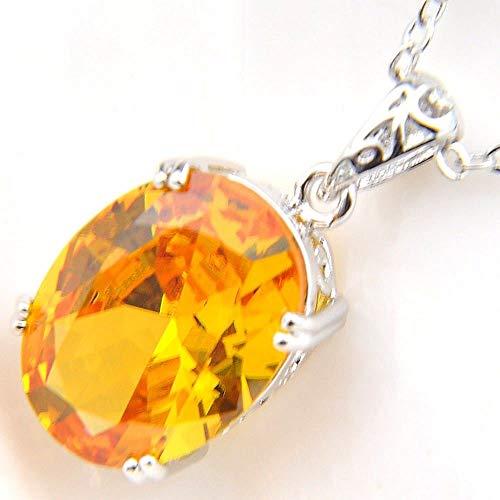 Jewelryamintra 18.5 Cts Oval Shaped Natural Golden Citrine Gemstone Silver Necklace Pendants