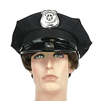 Largemouth Police Officer Beat Cop Chauffeur Costume Hat Black