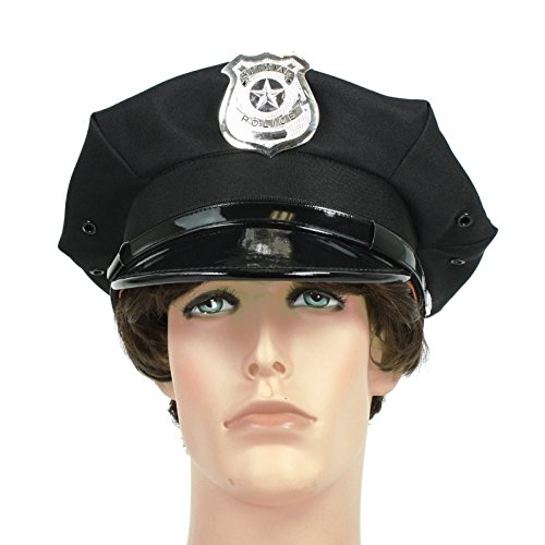 [Police Officer Beat Cop Chauffeur Costume Hat Black] (Cop Hat)
