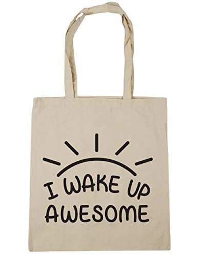 HippoWarehouse I Wake Up Awesome Tote Compras Bolsa de playa 42cm x38cm, 10litros Natural