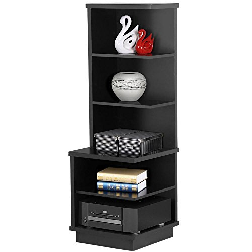 Yaheetech 5 Tier Wooden Open Shelf Bookcase Audio Stand Corner Display Shelves Black