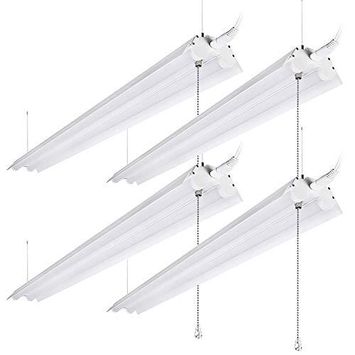 (LEONLITE 40W 4ft Linkable LED Utility Shop Light, Double-Tube T8 LED, 4000lm 120W Equivalent, ETL & Energy Star Certified Suit for Garage, Workbench, Basement, Warehouse, 5000K Daylight, 4 Pack)