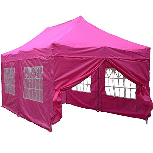 DELTA Canopies 10'x20′ Ez Pop up Canopy Party Tent Instant Gazebos 100% Waterproof Top with 6 Removable Sides Pink – E Model For Sale
