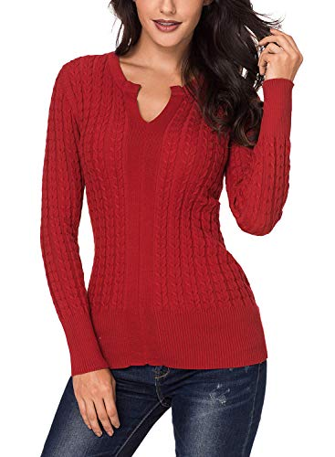 Azokoe 2018 Knit for Women Winter Ribbed Solid Cable Knit Classic Long Sleeve V Neck Knitted Pullover Jumper Basic Sweaters Fitted Top Red M Size 6 8 by Azokoe (Image #4)