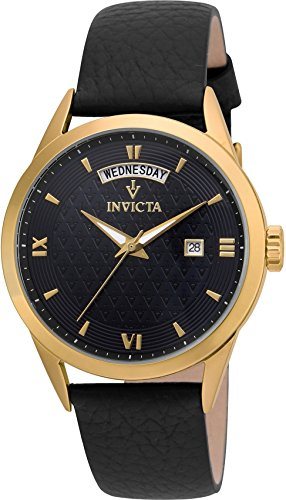 Invicta Women's 'Vintage' Quartz Stainless Steel and Leather Casual Watch, Color:Black (Model: 22828)