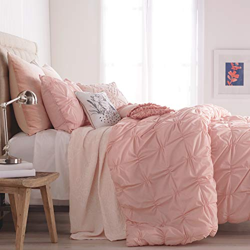 (Peri Home Check Smocked 100% Cotton Duvet Cover, Full/Queen, Blush)
