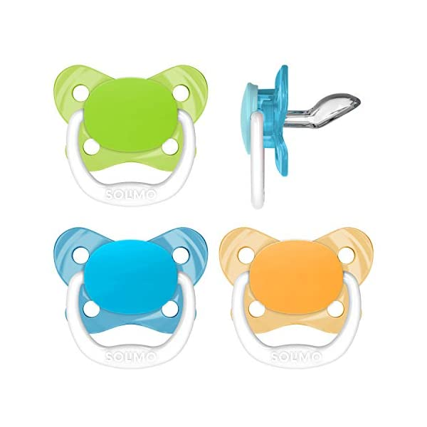 Kerrian Online Fashions 41G9pkCR2WL Amazon Brand - Solimo Orthodontic Baby Pacifier, Stage 1 (0-6M), BPA Free, Assorted Colors (Pack of 4)