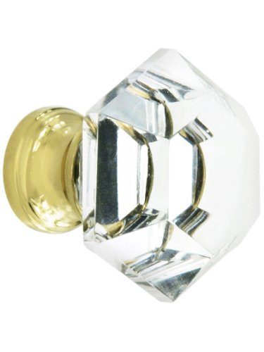 - Hexagonal Cut Crystal Knob with Solid Brass Base in Polished Brass