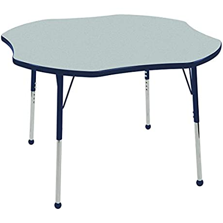 ECR4Kids T Mold 48 Clover School Activity Table Standard Legs W Ball Glides Adjustable Height 19 30 Inch Grey Navy