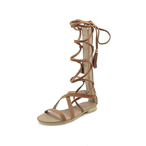 Sandalias brown Hueco 42 Toe Tubo Mujer Plano Sexy Abrir Calzado Largo Romano Tall xIwOpPrqI