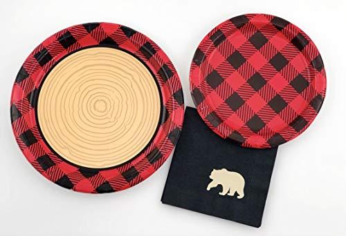 Buffalo Plaid Party Set - 16 Plates Napkins Lumberjack Birthday Bear Baby Shower by Stesha Party (Image #4)
