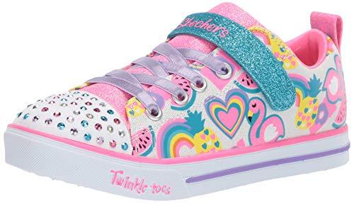 Skechers Kids Girls LITE-Sparkle Friends Sneaker, White/Multi, 2.5 Medium US Little Kid
