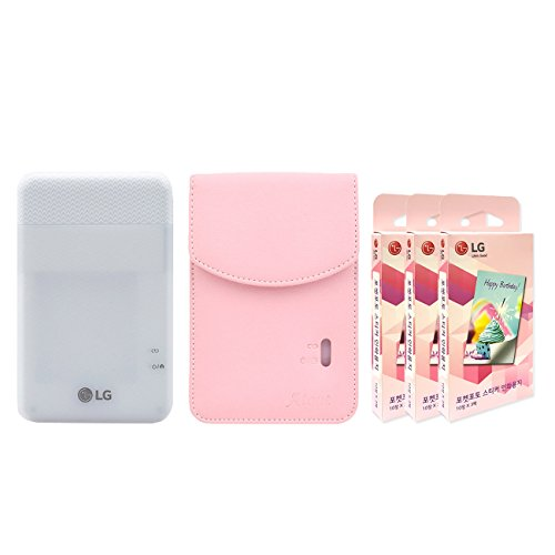 LG PD261 Portable Mobile Pocket Photo Printer [White] + Zink Sticker Paper 90 Sheets + Atout Premium Synthetic Leather Case [Pink] With Gift USB Cable [International Version]