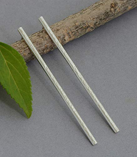 Long thin sterling silver hammered bar stud post earrings modern jewelry