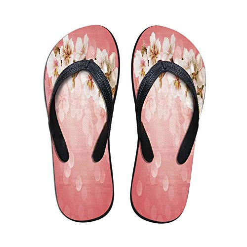 (TecBillion Coral Modern Flip Flops,Blossoming Tree Branch Japanese Cherry Sakura Fresh Spring Garden Romantic for Party & House & Other Events,US Size 8)