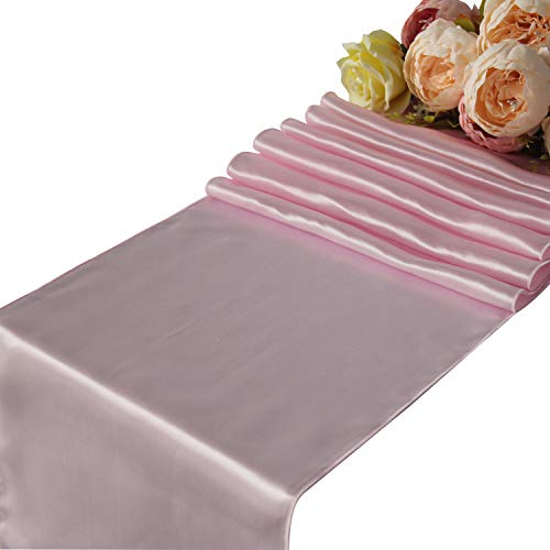 """Pink Satin Table Runners Wedding Party - 10 pcs Banquet Event Decoration 12"""" x 108"""""""