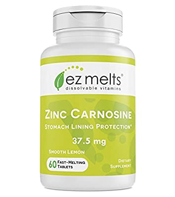 EZ Melts Zinc Carnosine, 37.5 mg, Sublingual Vitamins, Vegan, Zero Sugar, Natural Lemon Flavor, 60 Fast Dissolve Tablets