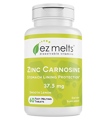 EZ Melts Zinc Carnosine, 37.5 mg, Sublingual Vitamins, Vegan, Zero Sugar, Natural Lemon Flavor, 60 Fast Dissolve Tablets