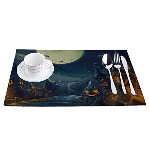 Taotopia Placemats,Haunted House - Perfect for Halloween, Dinner Parties and Scary Movie Nights (C)