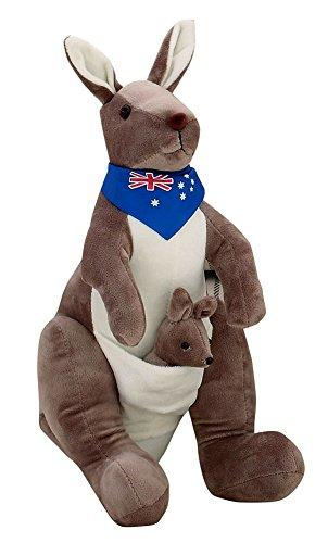 Muñeca de la felpa para los niños de juguete de felpa precioso peluche de canguro con la bufanda azul 13.8' (H)