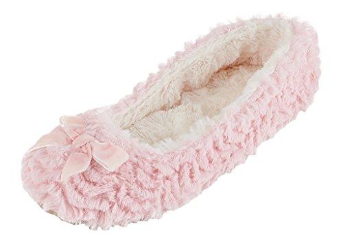 MIXIN Mujer Bailarina Plush Suelas Blandas Pantuflas Rosa