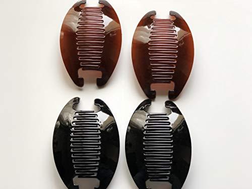 Claw Interlocking - 4 set Banana Jumbo Comb Clip Thick Hair Riser Claw Interlocking Jaw Extra(Black-Brown).