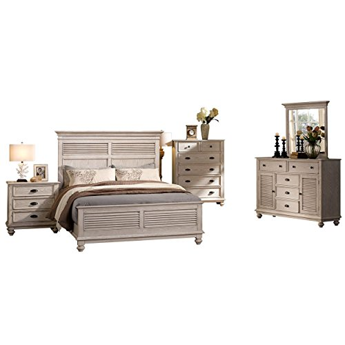 Ladella 6 Piece Cape Cod Shutter Panel E King Bed, 2 Nightstand, Dresser & Mirror, Chest in White Driftwood (Cape Cod Bedroom Furniture)