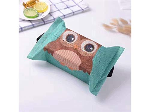 TjcmSs Mini scatola portafazzoletti Dispenser del supporto del tessuto dei tovaglioli del fumetto della copertura del contenitore del tessuto della tela di cotone per la cucina domestica (gufo)