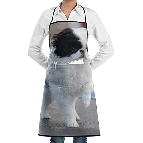 Vicrunning Japanese Walking Japanese Chin Dog Breed Aprons Bib for Mens Womens Hairstylist String Adjustable Adult Kitchen Waiter Aprons with Pockets