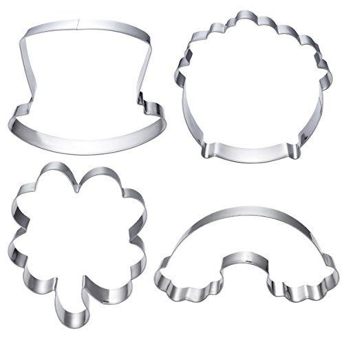 OUNONA 4pcs St.Patrick's Day Shamrock Cookie Cutters Set Non-stick Cookie Molds