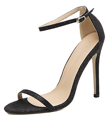 Open High Shoes Ankle Women IDIFU Dressy Strap Sandals Toe Heels With Black Stiletto BvEvqHI8n