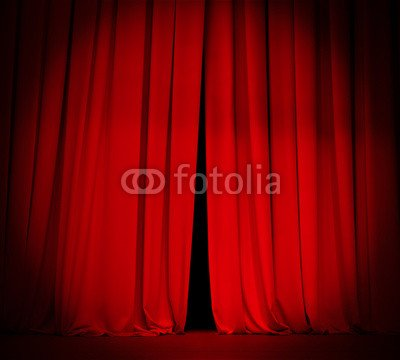 THEATRE STAGE Red Curtain With Spotlight Background 58124582 Poster 20