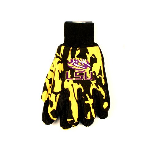 NCAA Officially Licensed Team Colored Camo Work Utility Gloves (LSU Tigers)