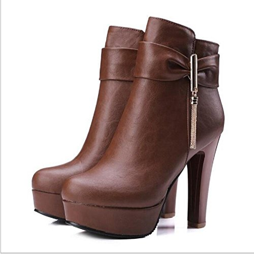 spero-alto talón botas ronda toe cremallera lateral Martin botas invierno shose brown