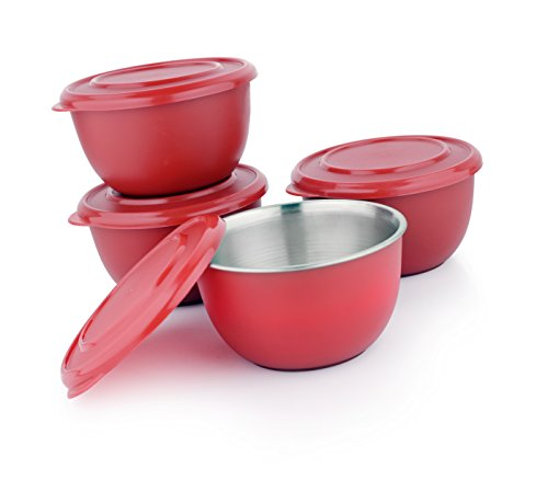LIEFDE Microwave Safe Stainless Steel Plastic Coated Serving Bowl Set of 4  13 cm Each Bowl