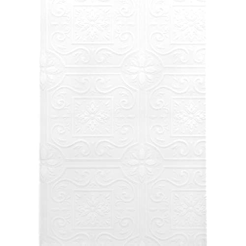 Brewster 429 6757 Paintable Solutions III Scrolls In Boxes Paintable  Wallpaper, 20.5 Inch By 396 Inch, White